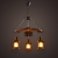 Retro chandelier LOFT restaurant creative personality glass 3 solid wood decoration