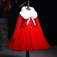 Princess Costume Kids Dresses For Girls Clothing Winter Flower Girls Dress Long Sleeve Party Wedding Dress with Fur Collar