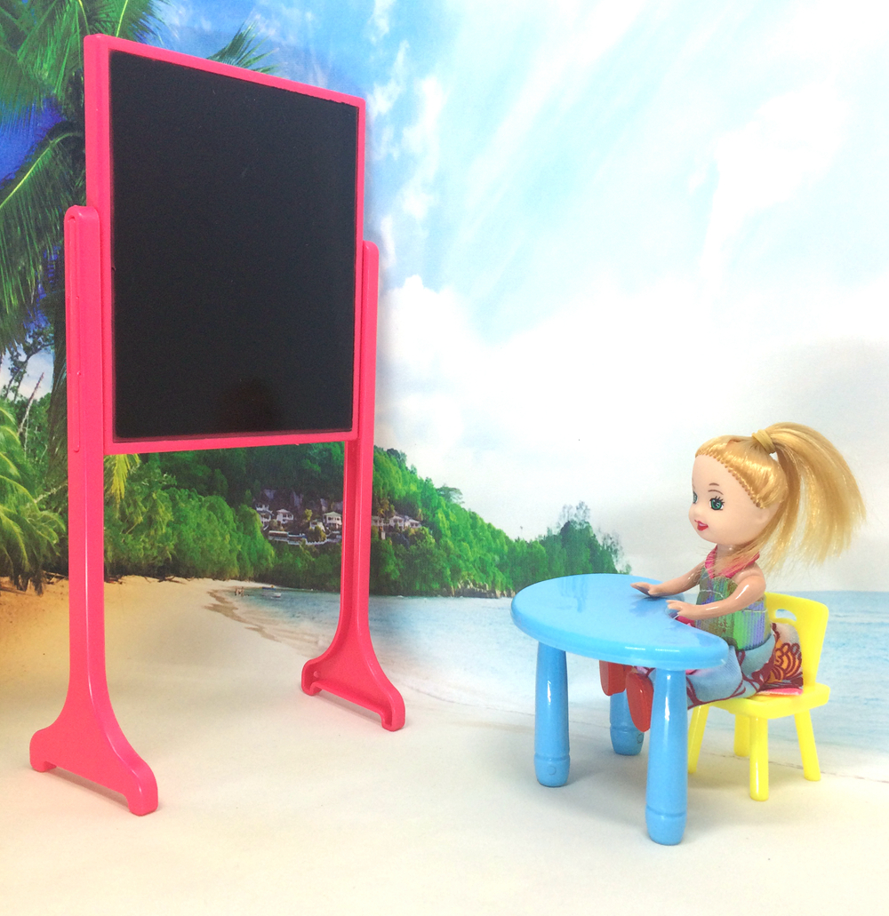 NK One Set New Arrival Kelly Doll Equipment Style Classing Room Furnishings Desks+Stool+ Blackboard For Barbie Greatest Reward