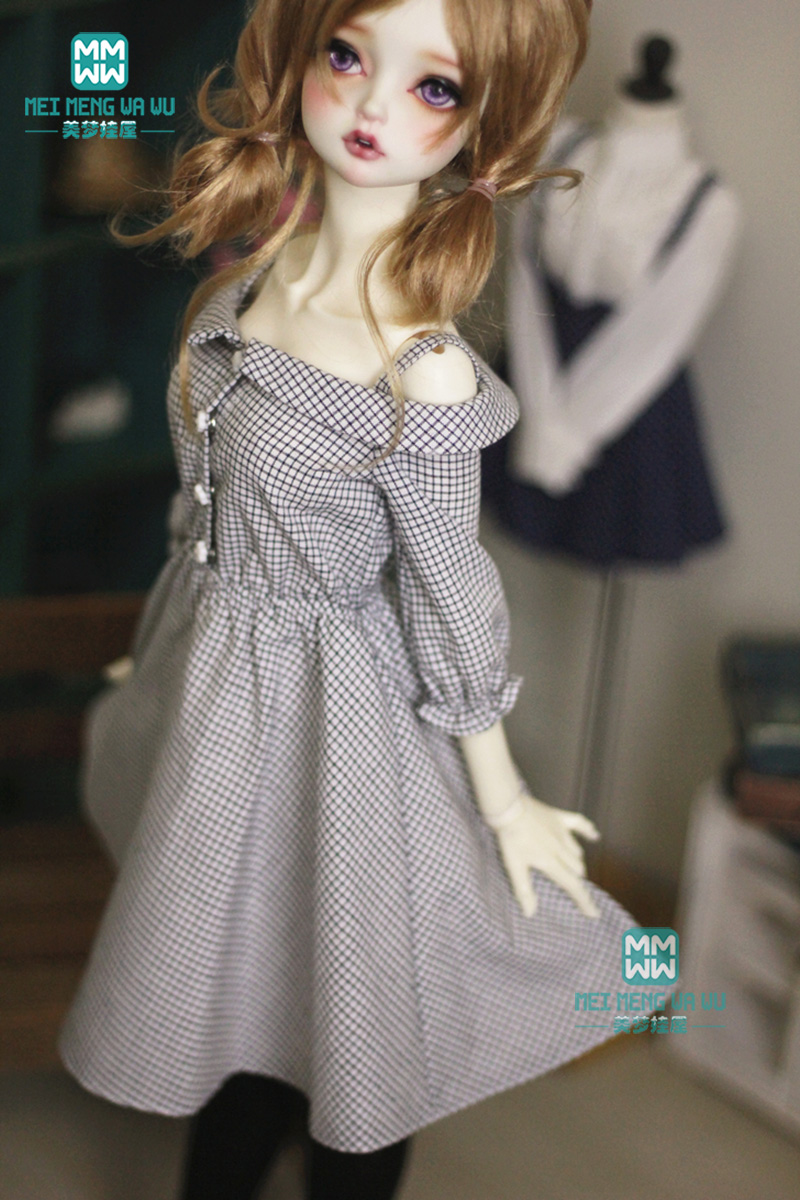 Clothes For Dolls Fashion Cotton Black Plaid Dress For Girls 60cm 1/3 Bjd Doll Clothes Underwear