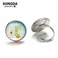 SONGDA Fashion The Little Prince with Fox Rose Moon Star Ring Fairy Tale Cartoon Printed Silver Plated Glass Dome Children Ring(China)