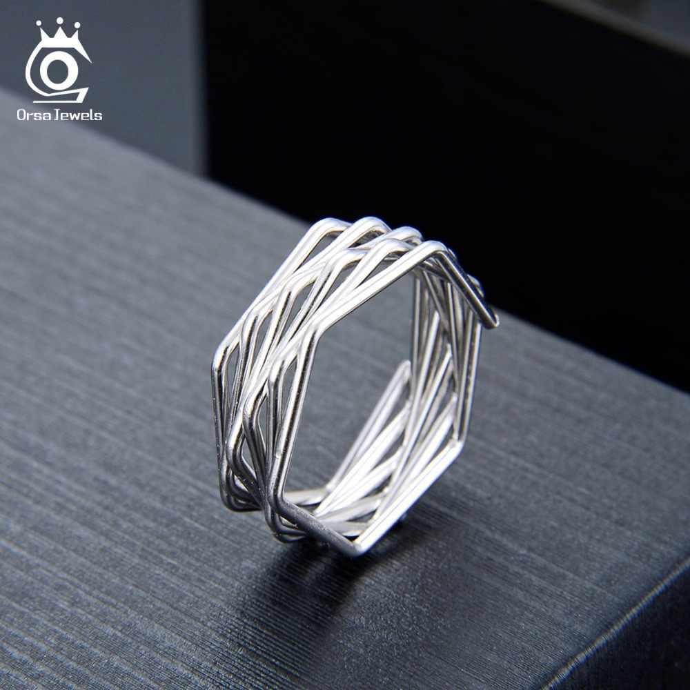 เครื่องประดับ ORSA เงินแท้ 925 แหวนผู้หญิง Twisted Knot สไตล์แหวนเงินหญิงแฟชั่นเครื่องประดับ SR128