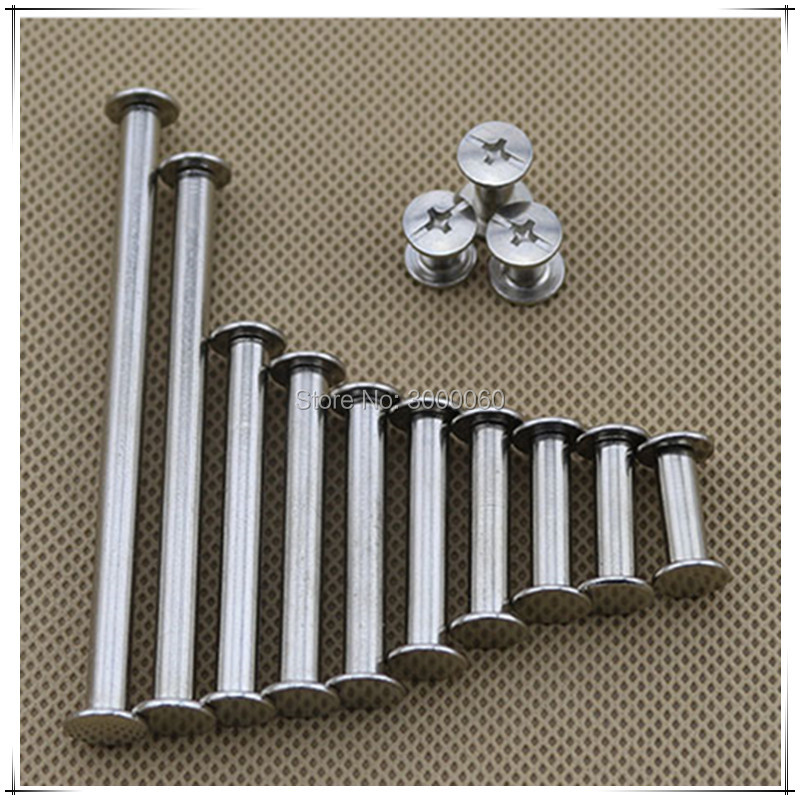 5mm Diameter Nickel Plated Carbon Steel Silver Male Female Blinding Post Book Screw 100pcs/lot