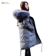 2017 New Hot Sale Women Winter Down Coat Natural Raccoon Fur Collar White Duck Down Jackets Female High Quality Outerwear OK1069