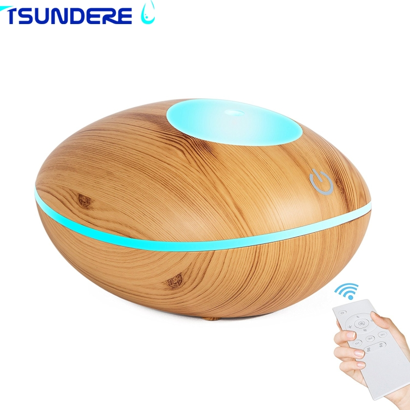 TSUNDERE L Aroma Essential Oil Diffuser 200ML Air Humidifier Wooden Remote Control Touch ...