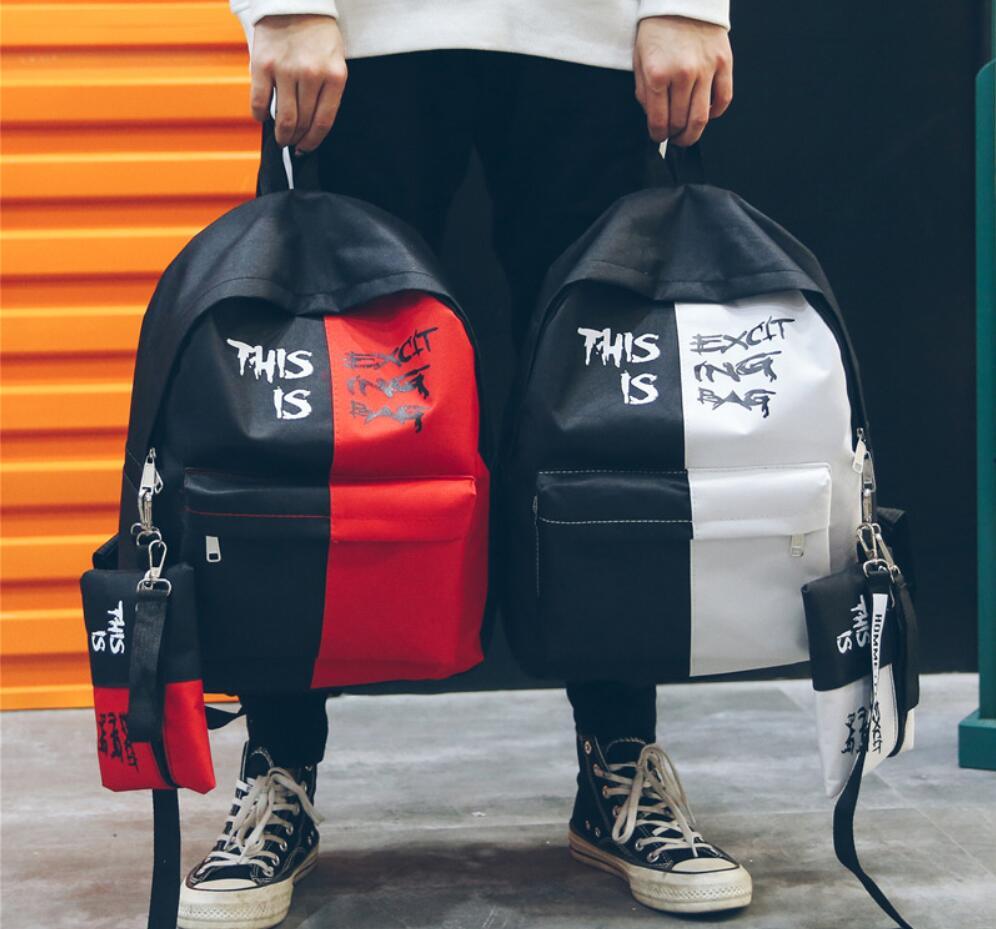 Letter Fashion Men Women Backpack School Teenagers Girls Laptop Backpack School Bag Ladies Backpack Female Bookbag Mochila