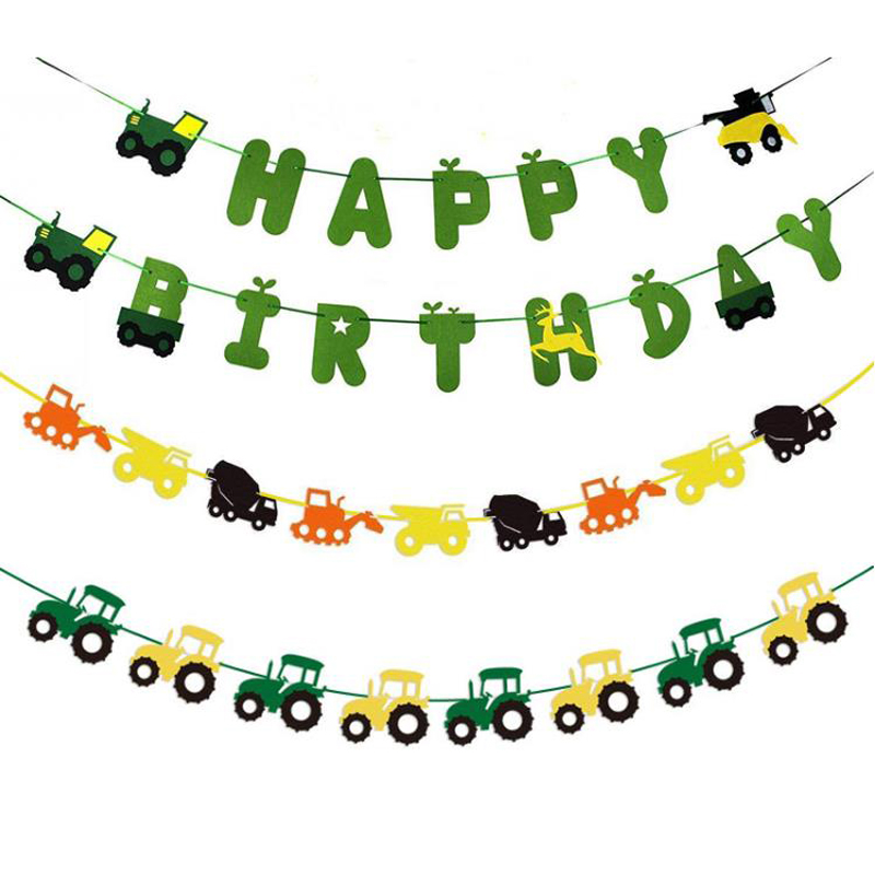 Heerlijk 1 Set Leuke Boerderij Thema Vilt Gelukkige Verjaardag Banner Tractor Cupcake Toppers Bouw Voertuig Party Decoraties Kids Jongen Gunsten