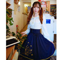 2016 Autumn new Classic Lolita Skirt Vintage Style Navy blue Striped Double layer Gold Cage Birds Embroidery High waist Skirts