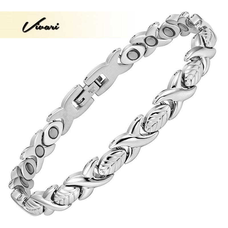 Vivari 2017 Health Ladies Silver Magnetic Stainless Steel Women Bracelet Plant Leave Bangle Magnets Jewelry Wristband