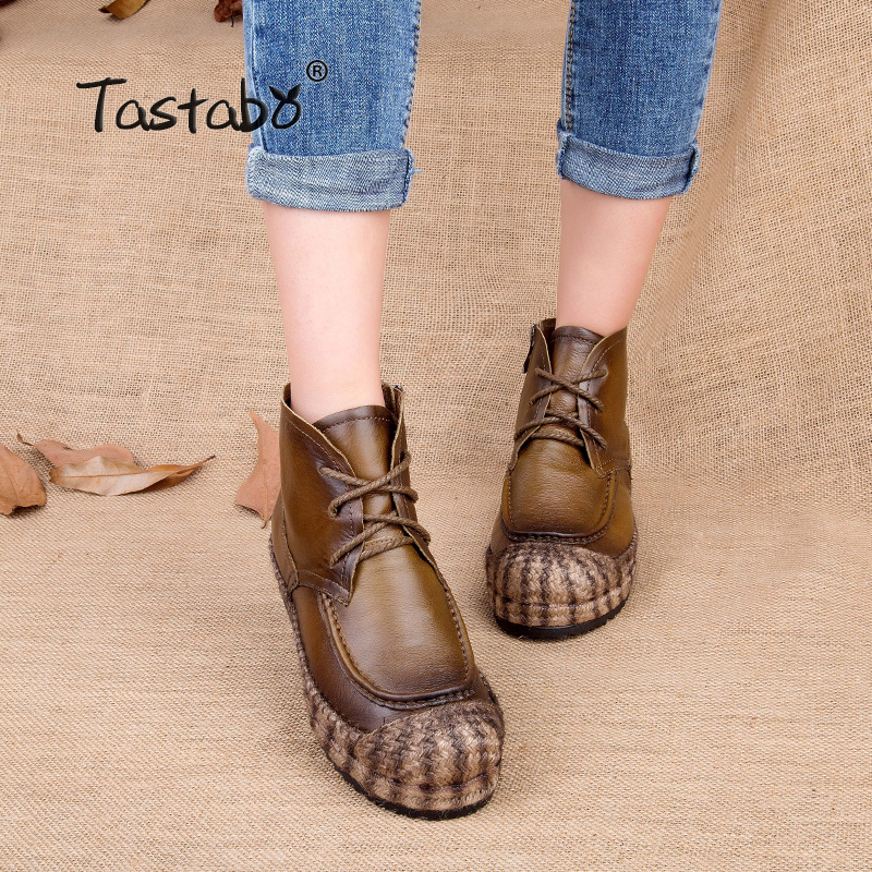 Tastabo Fashion Handmade Boots For Women Winter Women Boots Suede Leather  Ankle Boots Woman Shoes Allmatch Casual Flat Shoes tastabo genuine leather women boots new brand handmade casual leather shoes leather moccasin fashion driving flats boots shoes