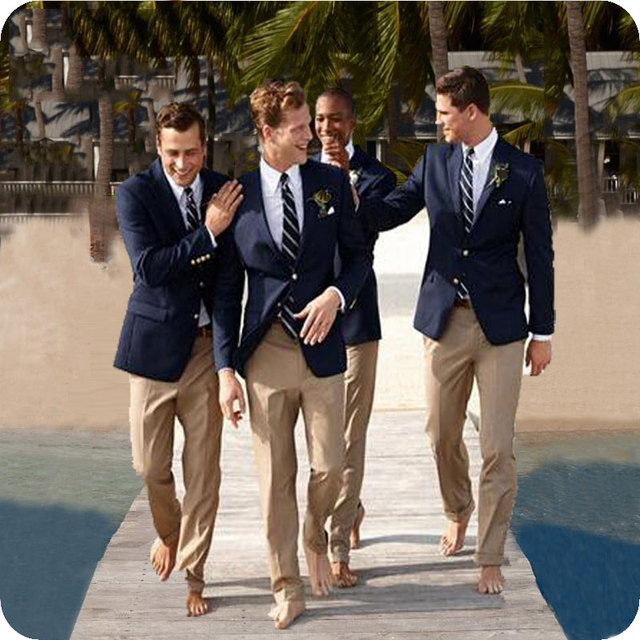 43bee2e4853 Summer Navy Blue Men Suits Beach Wedding Slim Fit Groom Tuxedo Groomsmen  Suits Custom Made Male Blazer Terno Masculino Costume
