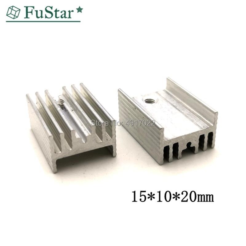10Pcs 15*10*20 Mm Transistor Aluminum Heatsink Radiator With Hjxrhgal For Transistors TO-220 TO220 White 20*15*10 Mm Radiator