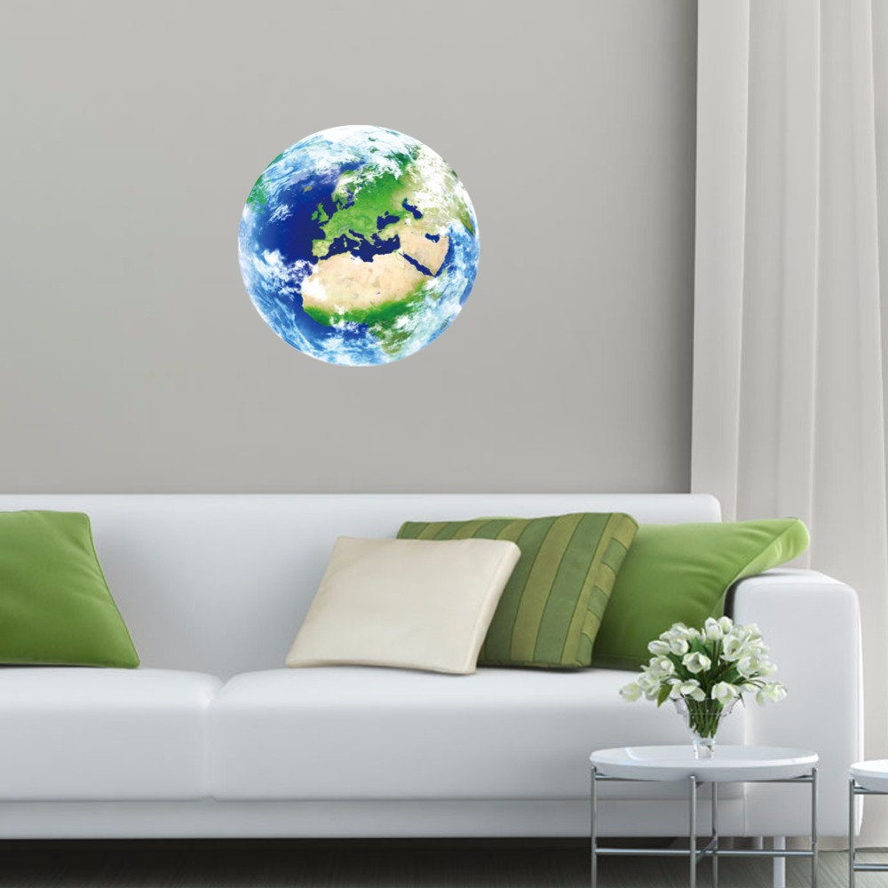 Новый 1 шт. световой Европа синий земля мультфильм DIY 3D Наклейки на стену для детей номеров спальня Home Decor Гостиная Лидер продаж