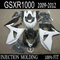 Injection mold 100% fit for Suzuki GSXR1000 09 10 11 12 classical white black fairing kit GSXR 1000 2009 2010 2011 2012 OI34