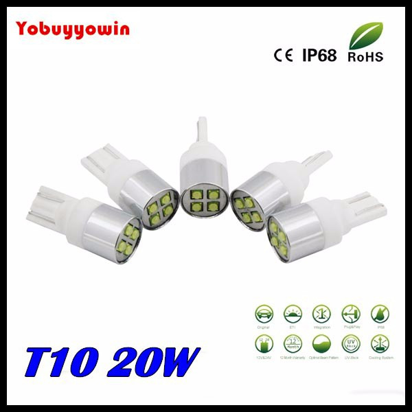 Free shipping 2pcs New T10 Ceramics Base Car Interior Led light Super Bright 20W CREE Chip LAMP 194 Led Car,T10 Light w5w Led 10pcs super bright led lamp t10 w5w 194 6smd 4014 error free canbus interior bulb white for car dc 12v free shipping new