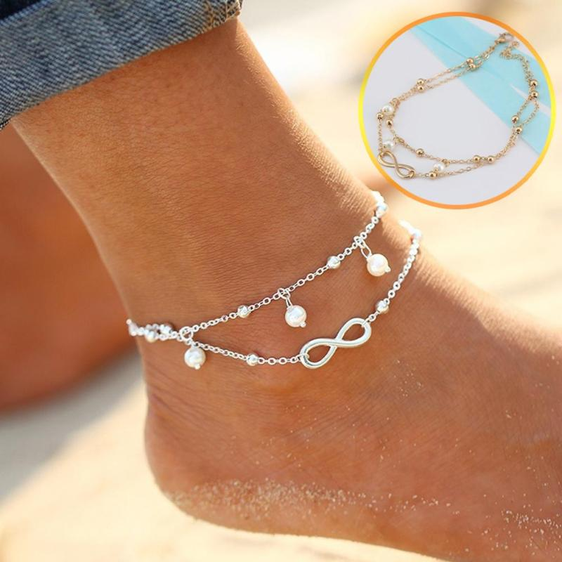Silver Gold Fashion Simulated Pearl Bead Charms Infinity Anklet Chain Barefoot Sandals Simulated Pearl Jewelty Bead Anklet Z3