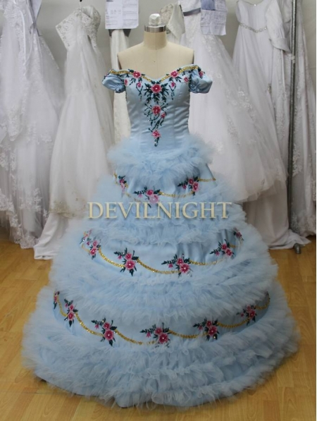 Bleu Princesse Victorienne Sisi Hors la épaule Multi Robe Z6qxZOr