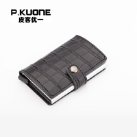P.KUONE Genuine Leather RFID Blocking Mini Wallet Protect Safe Credit Card Holder Designer Quality Aluminum Clip Waller Purse