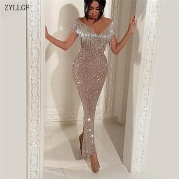 6ac6506026 ZYLLGF brillo borla sirena vestidos De noche vestido De fiesta Aibye turco  Dubai vestido Formal concurso Abendkleider MC14