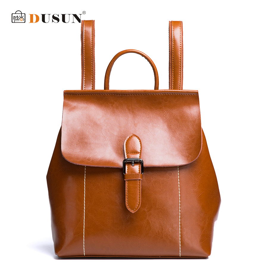 DUSUN Women Vintage Backpack Luxury Genuine Leather Double Shoulder Bag Women Famous Brand Bag Solid Color Satchel Girl Backpack vintage designer women backpack genuine leather bag famous brand cow leather women shoulder bag casual female backpack