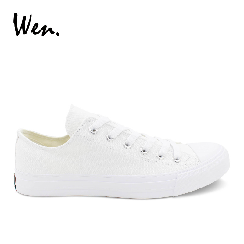 Wen Summer Shoes Solid White Canvas Sneakers Low Top Men Casual Flat Shoes Laced Black Plimsolls Teens All Match Plus Size 46-49 e lov women casual walking shoes graffiti aries horoscope canvas shoe low top flat oxford shoes for couples lovers