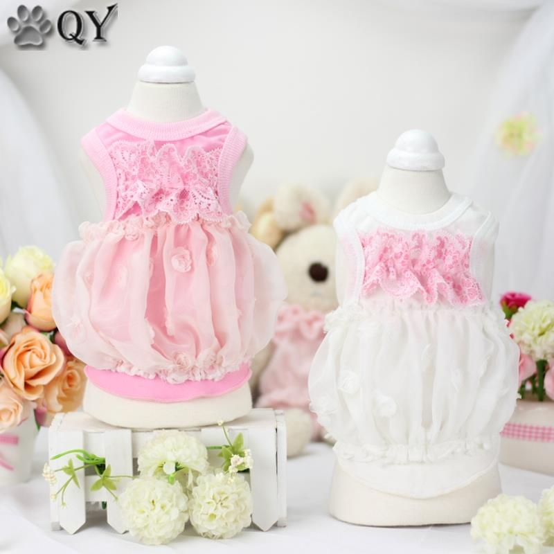 QY Pet Products 2016 Summer Clothes For Dog Pet Dog Clothing Puppy Pet Apparel Cotton Lace Flower Princess Dog Dress birthday cake