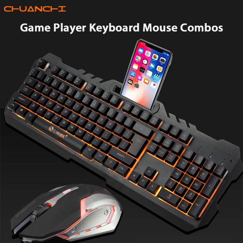 CHUANCHI T21 Gaming Keyboard Mouse Combos USB Wired LED Backlit Mechanical Feel With 3200 DPI Adjustable Gaming Mouse For Gamer