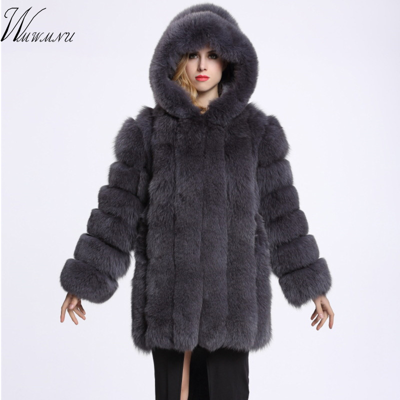 Europa moda de luxo com capuz falso casaco de pele de raposa para o rosa bonito fofo de pelúcia casaco 2018 ocasional de manga Comprida mulheres casaco de pelúcia jas dame