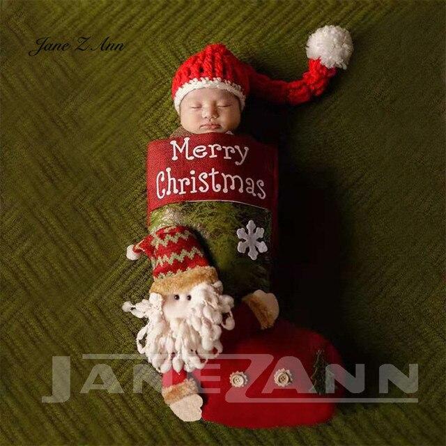 Jane Z Ann Baby photo costume newborn photo cartoon knitted handmade Christmas theme sleeping bag with hat studio accessories 3