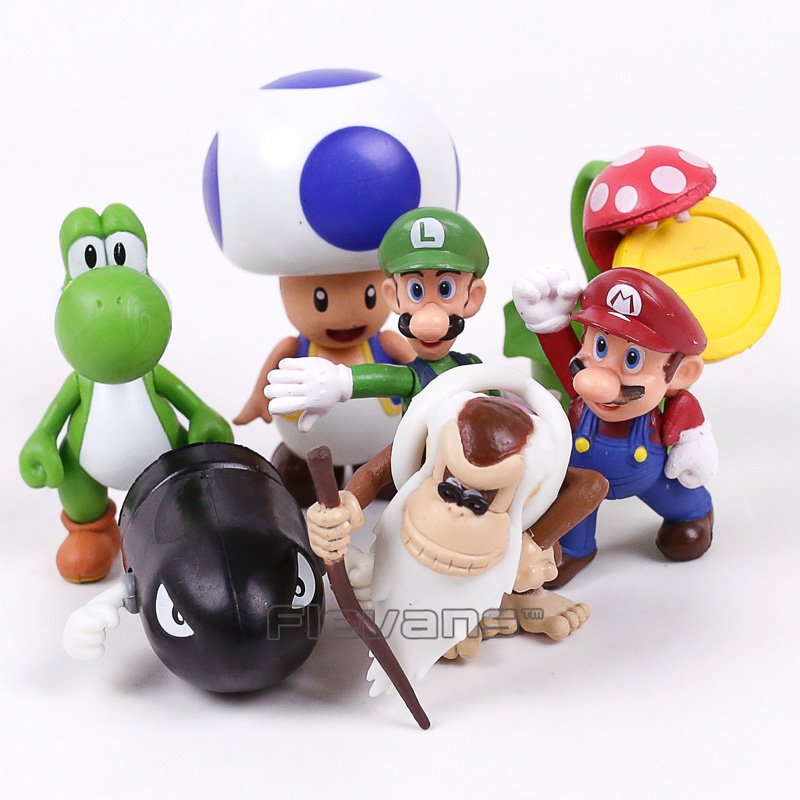 все цены на Super Mario Bros Mario Luigi Yoshi Toad Banzai Bill Piranha Plant Coin PVC Figures Toys 8pcs/set 5~8cm онлайн