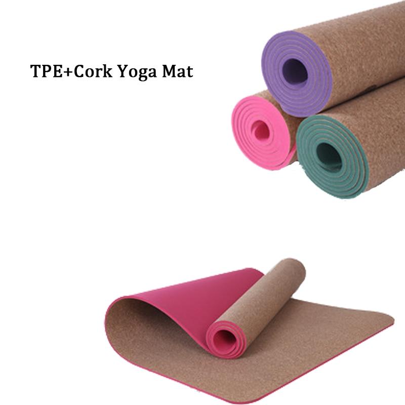 Tapis de Yoga naturel anti-dérapant TPE + liège de marque 5 MM tapis de bain antibactérien tapis de gymnastique respirant tapis de sport tapis d'exercice de Yoga