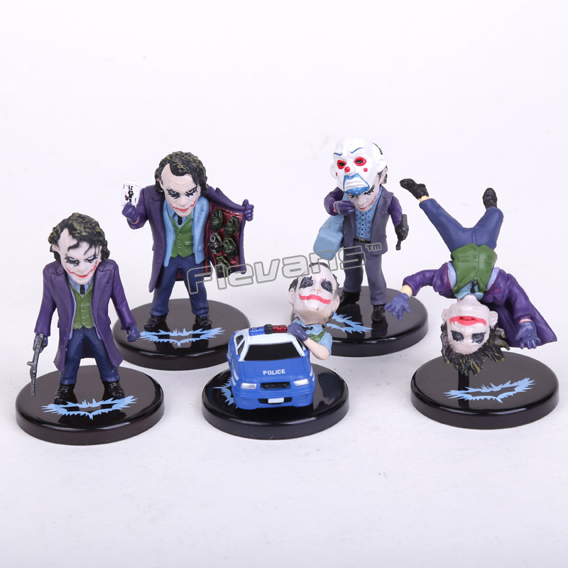 5pcs//set DC Comics Batman The Dark Knight The Joker Mini PVC Figures Collection