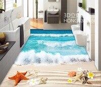 Floor wallpaper 3d for bathrooms beach 3d floor tiles Custom Photo self adhesive 3D floor PVC waterproof floor
