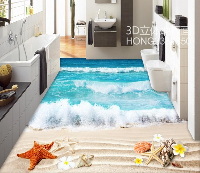 Atemberaubend Boden tapete 3d für badezimmer strand 3d bodenfliesen #NF_15