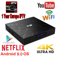 one year for Europe iptv subscription T9 TV Box Android 9.0 RK3328 Quad core 4G 32G 64G WiFi HD 3D 4K H.265 BT Smart Set top box