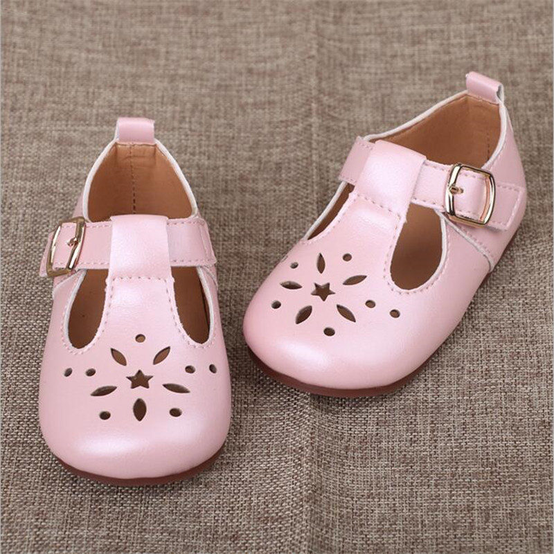 Girls Shoes 2018 spring and summer new children princess leather shoes Girls baby casual breathable single shoes half sandals