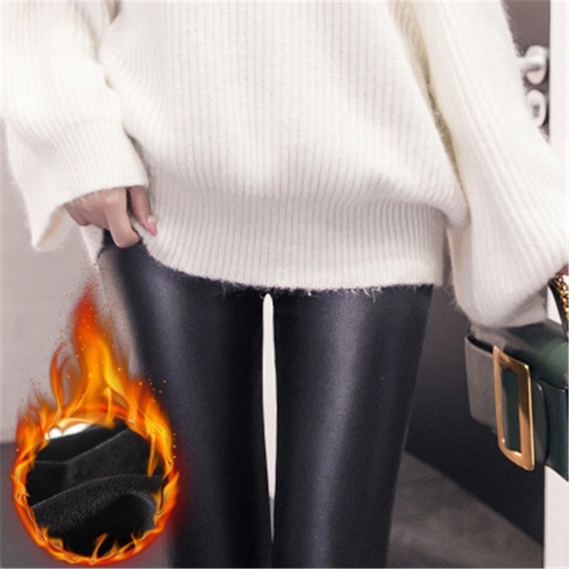 Imitation Leather Pants Winter Women's   Leggings   Plus Velvet Thick AutumnWarm Thick&thin Imitation Leather Pants Plus Size 1SA28