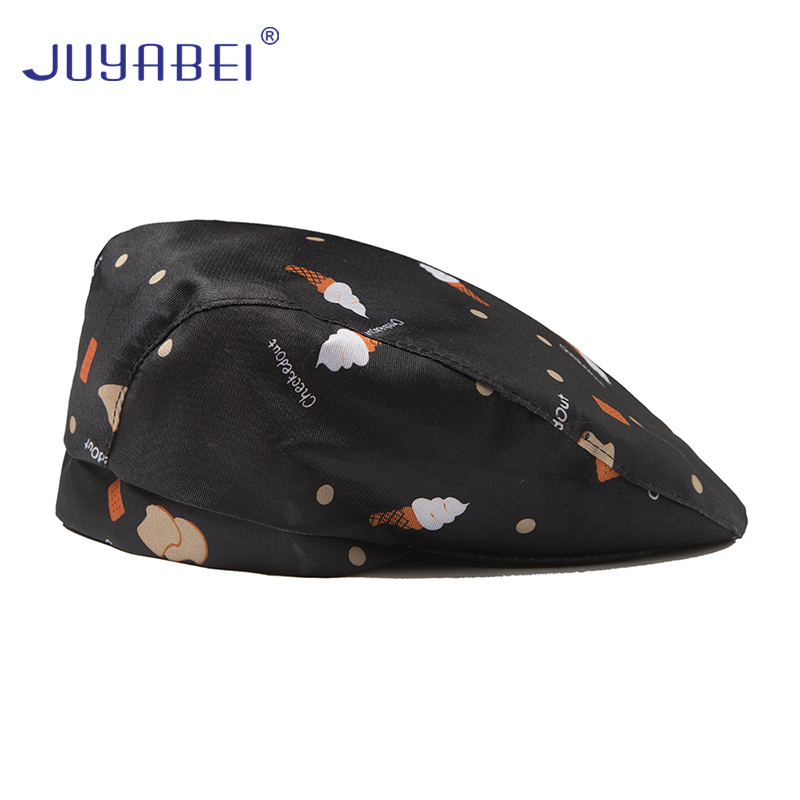Fashion Print Stripe Chef Hat Wholesale Barber Chef Waiter Advance Cap Hotel Restaurant Canteen Baking Cooking Work Hat Unisex