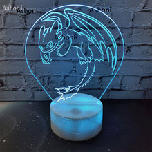 Ashoni How To Train Your Dragon 3D LED Table Lamp Touch Colorful 7 Color Change Acrylic Night Light Kids Gifts Toy