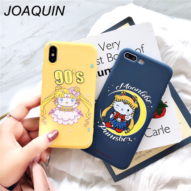 Half-wrapped Case Phone Bags & Cases Reasonable Cute Sailor Moon Luna Cat Phone Case For Iphone X Anime Bear Elf Embossed Silicone Phone Case For Iphone 8 7 6 Plus Back Cover