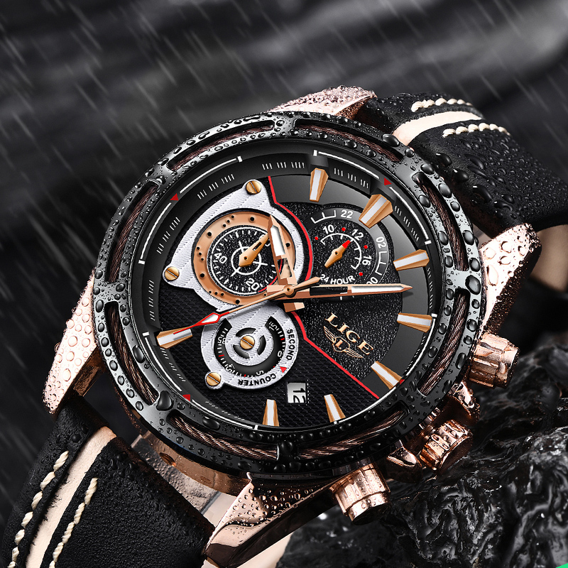 2018Luxury Watch Men Brand LIGE Jewelry Big Alloy Dial Military Men Black Sports Watches Waterproof Leather Business Watches+Box