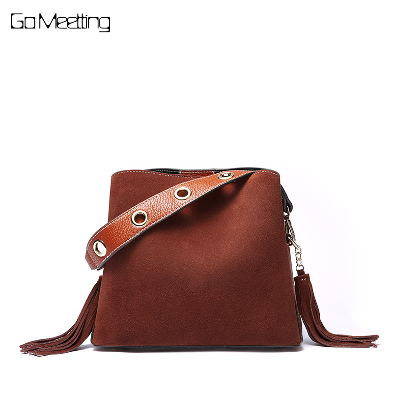 купить Go Meetting Genuine Leather Women Bucket Bag Handbag Vintage Tassel Messenger Bags High Quality Retro Shoulder Cross body Bag недорого