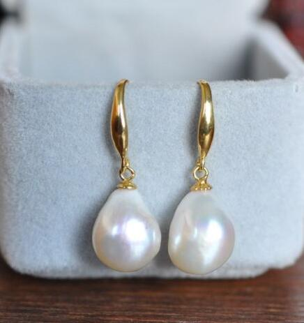 Free shipping AAA 12-14mm South Sea White Baroque Pearl Earrings 14