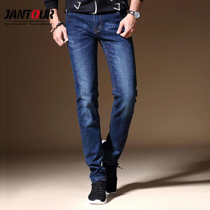 2018 Erkek Kot Iş Rahat Düz Slim Fit Mavi gri Kot Streç Denim Pantolon Pantolon Klasik Cowboys Genç erkek kotları