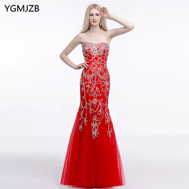 Elegant Arabic Evening Dresses Long 2018 Mermaid Sweetheart Floor Length  Beaded Crystal Red Prom Dress Prom Evening Gown 12f5b94f9aee