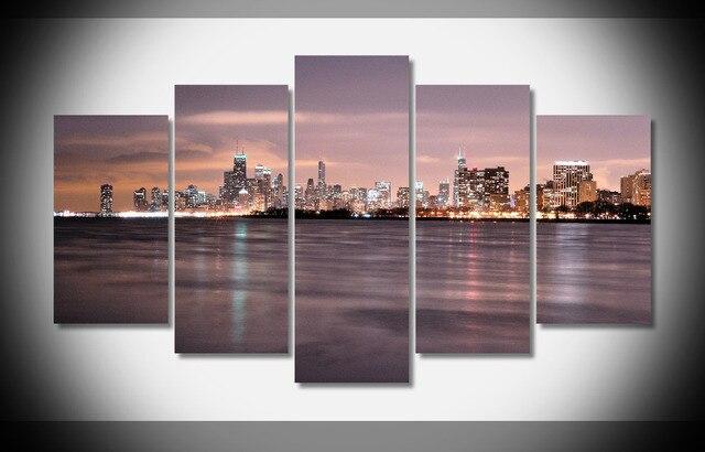 8356 cityscapes skylines Chicago noche paisaje cartel enmarcado ...