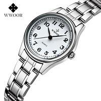 016 New Brand Women Quartz Watches Number Dial 30m Waterproof Stainless Steel Women Wristwatches High Quality