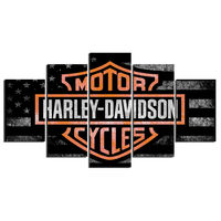 5 Panels Harley Davidson Motorcycle HD Printed Prints Canvas Painting On Canvas Wall Art Poster Custom