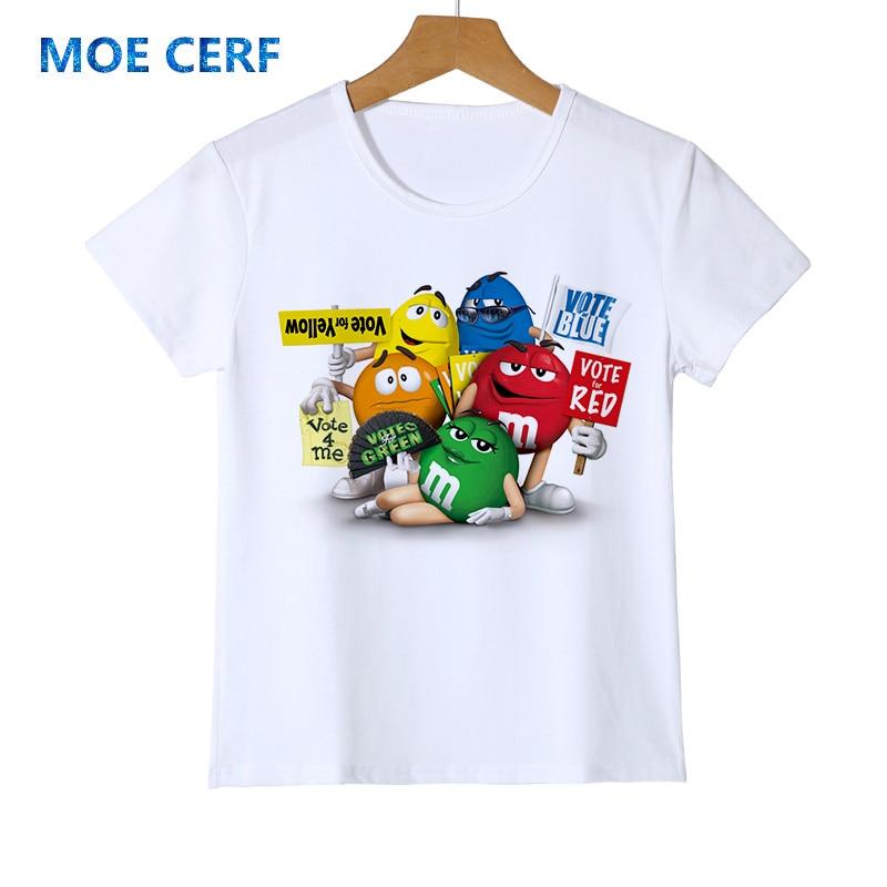 Anime 3d Print T Shirt Kinder Mode Hoodie Harajuku Schokolade Bohnen Mm Lustige Junge Mädchen T Shirts Homme Baby T-shirt Z47-1