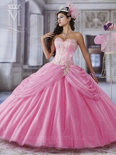Magenta frisada corpete bordado tulipa pannier saia de tule vestidos de baile quinceanera doce 16 com bolero